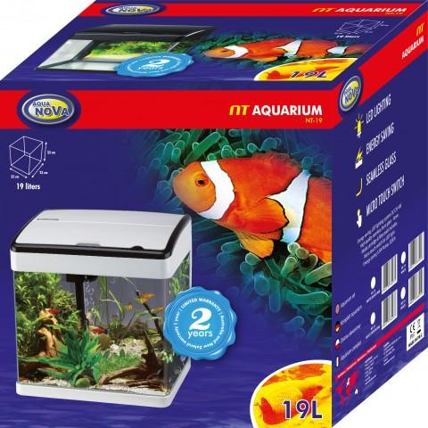 Aqua Nova Nt 19 Black Akwarium 19l Led Gięte Szkło Filtr Oświetlenie Czarne